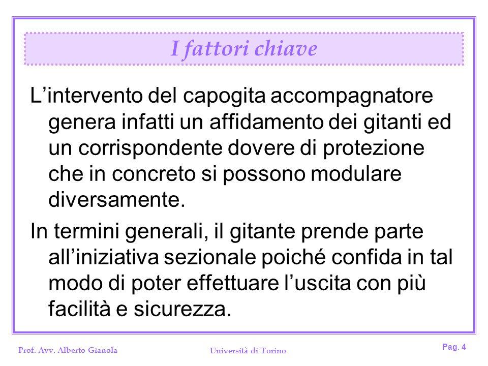 Prof. Avv. Alberto Gianola Università di Torino Pag. 4 Lintervento del capogita accompagnatore genera infatti un affidamento dei gitanti ed un corrisp