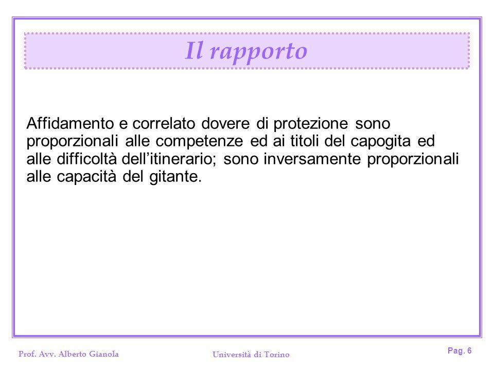 Prof. Avv. Alberto Gianola Università di Torino Pag. 6 Affidamento e correlato dovere di protezione sono proporzionali alle competenze ed ai titoli de