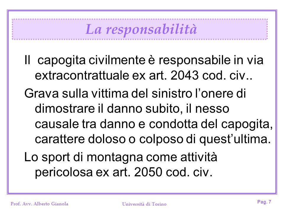 Prof. Avv. Alberto Gianola Università di Torino Pag. 7 Il capogita civilmente è responsabile in via extracontrattuale ex art. 2043 cod. civ.. Grava su