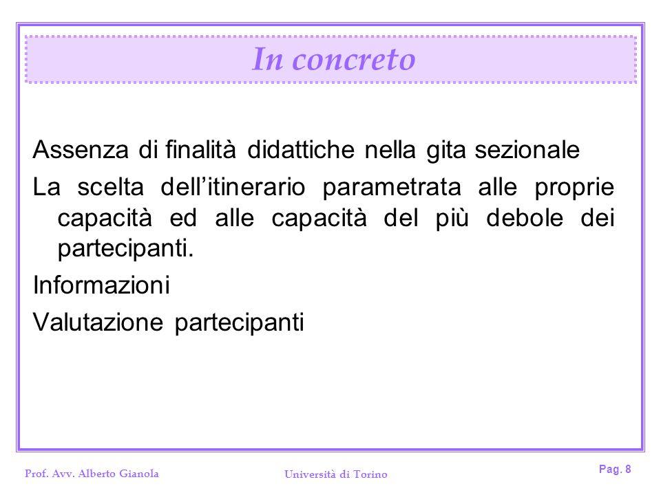 Prof. Avv. Alberto Gianola Università di Torino Pag. 8 Assenza di finalità didattiche nella gita sezionale La scelta dellitinerario parametrata alle p