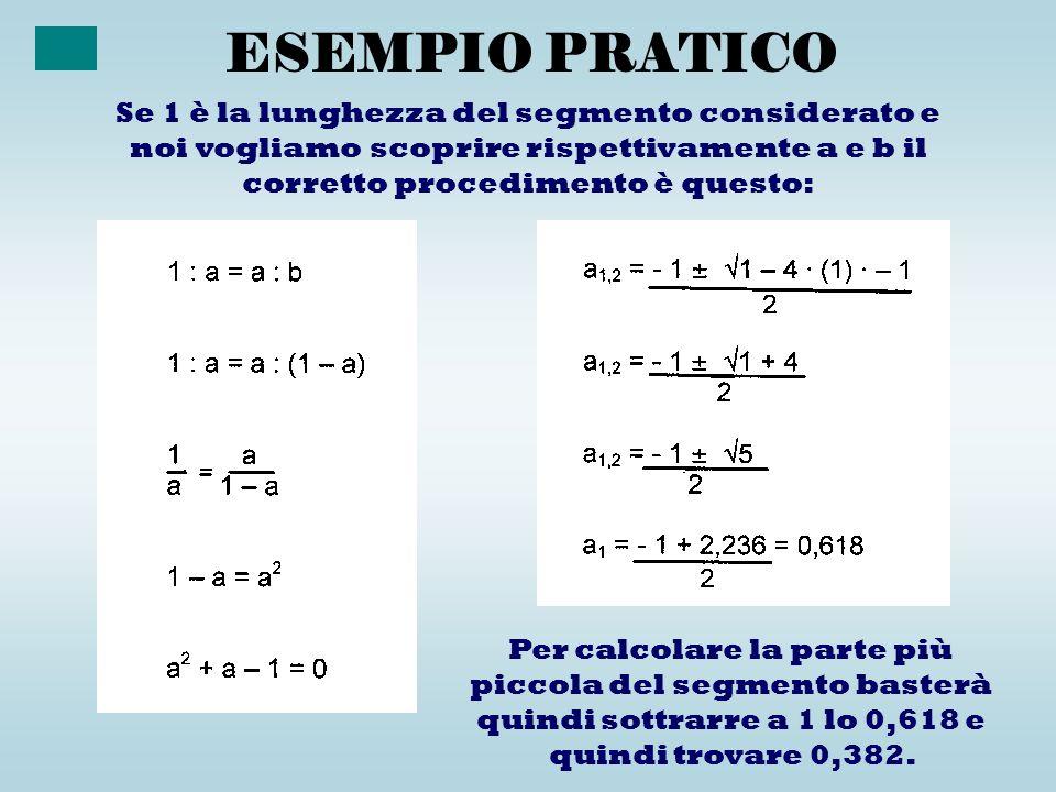 ESEMPIO PRATICO Per calcolare la parte più piccola del segmento basterà quindi sottrarre a 1 lo 0,618 e quindi trovare 0,382. Se 1 è la lunghezza del