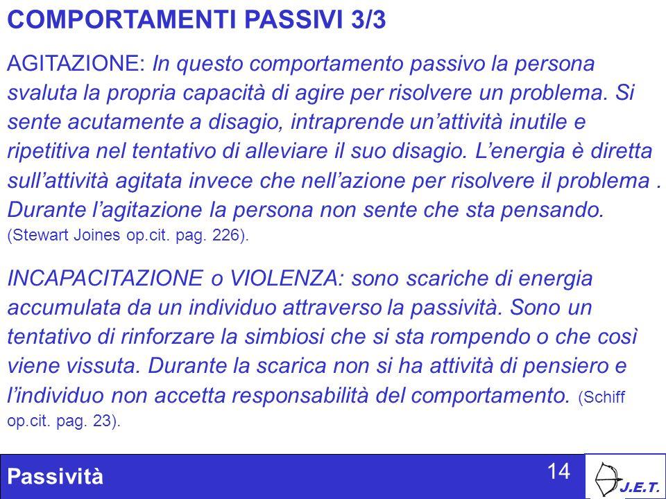 J.E.T. Passività 14 COMPORTAMENTI PASSIVI 3/3 AGITAZIONE: In questo comportamento passivo la persona svaluta la propria capacità di agire per risolver