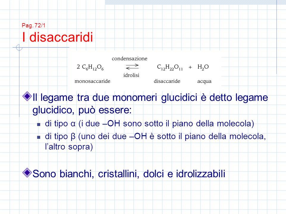 Pag. 72/1 I disaccaridi Il legame tra due monomeri glucidici è detto legame glucidico, può essere: di tipo α (i due –OH sono sotto il piano della mole