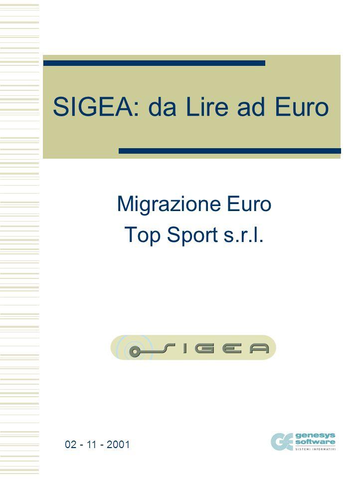 SIGEA: da Lire ad Euro Migrazione Euro Top Sport s.r.l. 02 - 11 - 2001