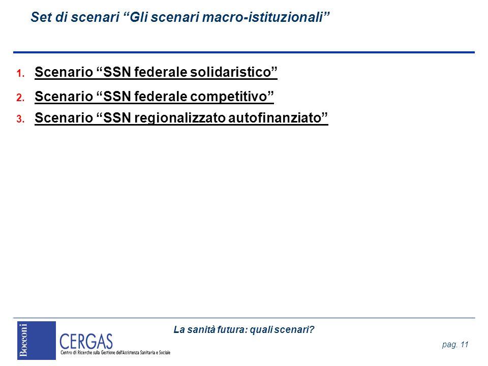 La sanità futura: quali scenari? pag. 11 Set di scenari Gli scenari macro-istituzionali 1. Scenario SSN federale solidaristico 2. Scenario SSN federal