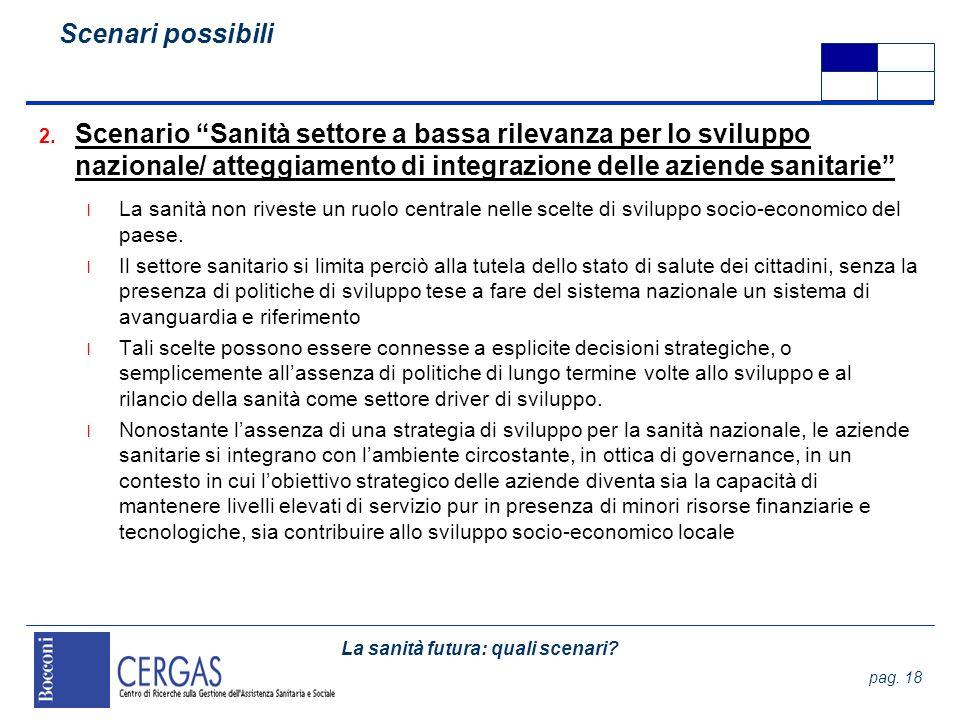 La sanità futura: quali scenari? pag. 18 2. Scenario Sanità settore a bassa rilevanza per lo sviluppo nazionale/ atteggiamento di integrazione delle a