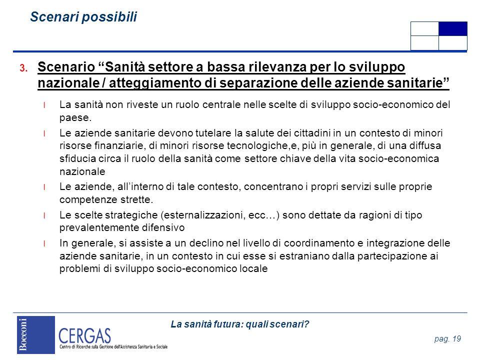 La sanità futura: quali scenari? pag. 19 3. Scenario Sanità settore a bassa rilevanza per lo sviluppo nazionale / atteggiamento di separazione delle a
