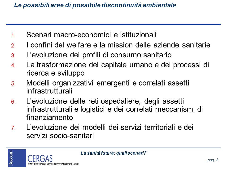La sanità futura: quali scenari? pag. 2 Le possibili aree di possibile discontinuità ambientale 1. Scenari macro-economici e istituzionali 2. I confin