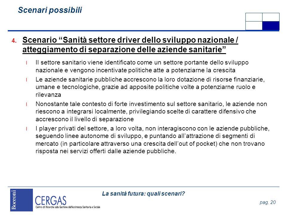 La sanità futura: quali scenari? pag. 20 4. Scenario Sanità settore driver dello sviluppo nazionale / atteggiamento di separazione delle aziende sanit