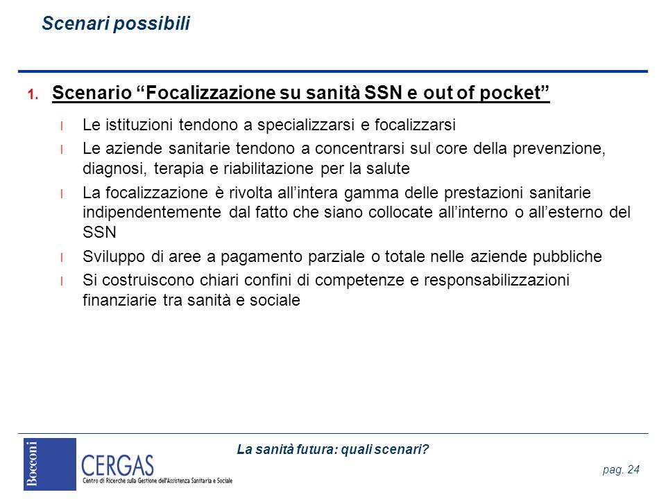 La sanità futura: quali scenari? pag. 24 1. Scenario Focalizzazione su sanità SSN e out of pocket l Le istituzioni tendono a specializzarsi e focalizz