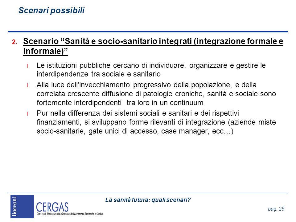 La sanità futura: quali scenari? pag. 25 2. Scenario Sanità e socio-sanitario integrati (integrazione formale e informale) l Le istituzioni pubbliche