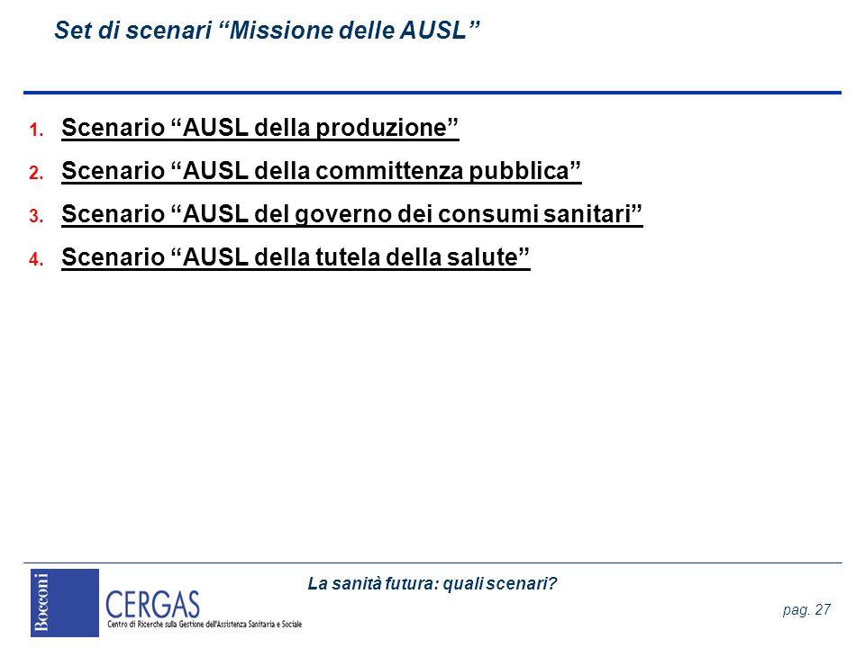 La sanità futura: quali scenari? pag. 27 Set di scenari Missione delle AUSL 1. Scenario AUSL della produzione 2. Scenario AUSL della committenza pubbl