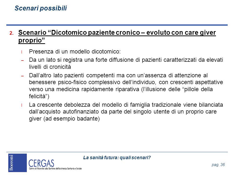 La sanità futura: quali scenari? pag. 36 2. Scenario Dicotomico paziente cronico – evoluto con care giver proprio l Presenza di un modello dicotomico:
