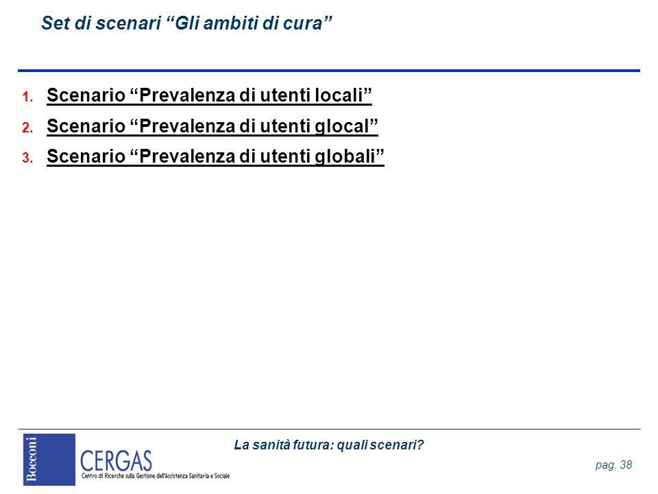 La sanità futura: quali scenari? pag. 38 Set di scenari Gli ambiti di cura 1. Scenario Prevalenza di utenti locali 2. Scenario Prevalenza di utenti gl