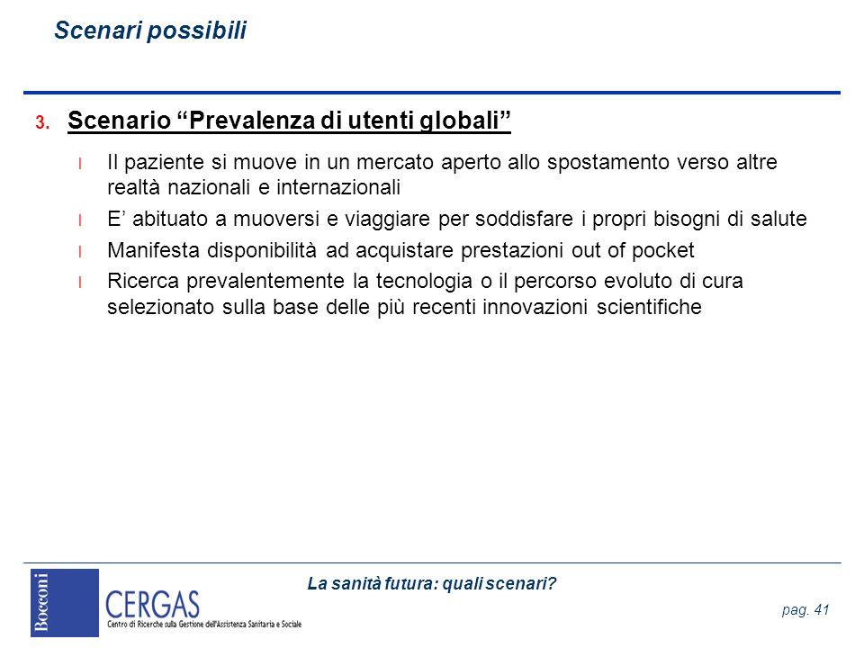 La sanità futura: quali scenari? pag. 41 3. Scenario Prevalenza di utenti globali l Il paziente si muove in un mercato aperto allo spostamento verso a