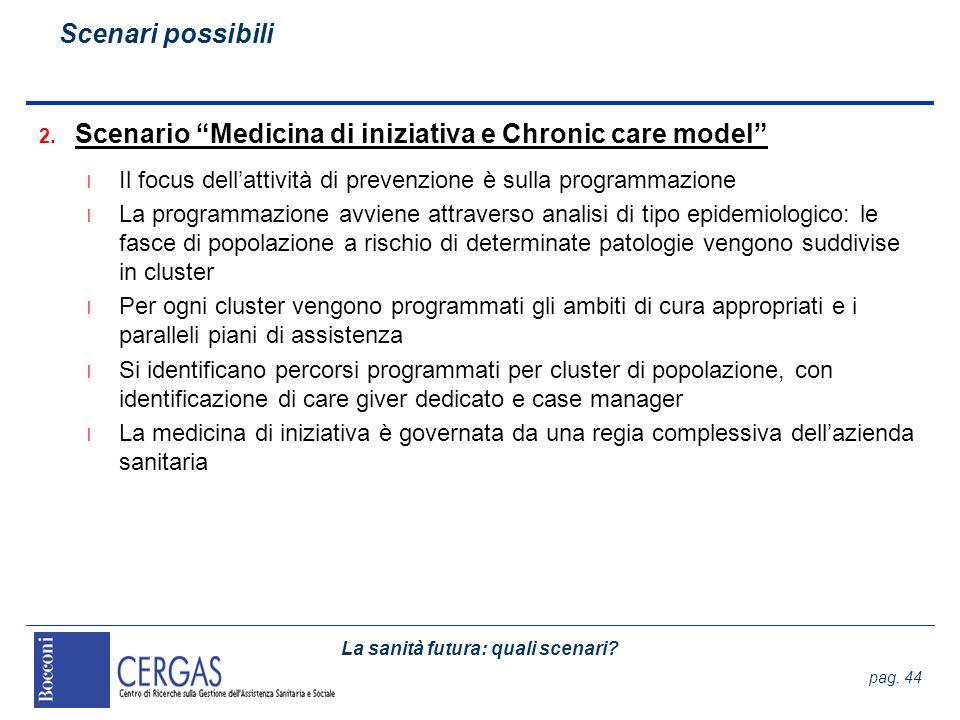 La sanità futura: quali scenari? pag. 44 2. Scenario Medicina di iniziativa e Chronic care model l Il focus dellattività di prevenzione è sulla progra