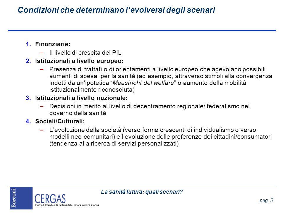 La sanità futura: quali scenari? pag. 5 Condizioni che determinano levolversi degli scenari 1.Finanziarie: –Il livello di crescita del PIL 2.Istituzio