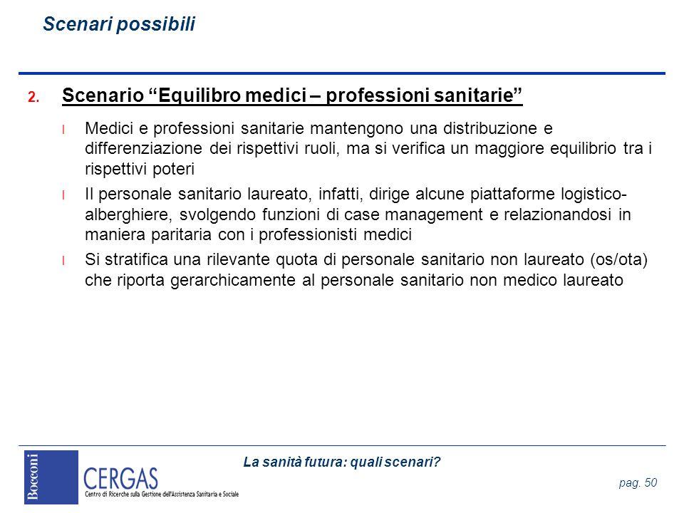 La sanità futura: quali scenari? pag. 50 2. Scenario Equilibro medici – professioni sanitarie l Medici e professioni sanitarie mantengono una distribu