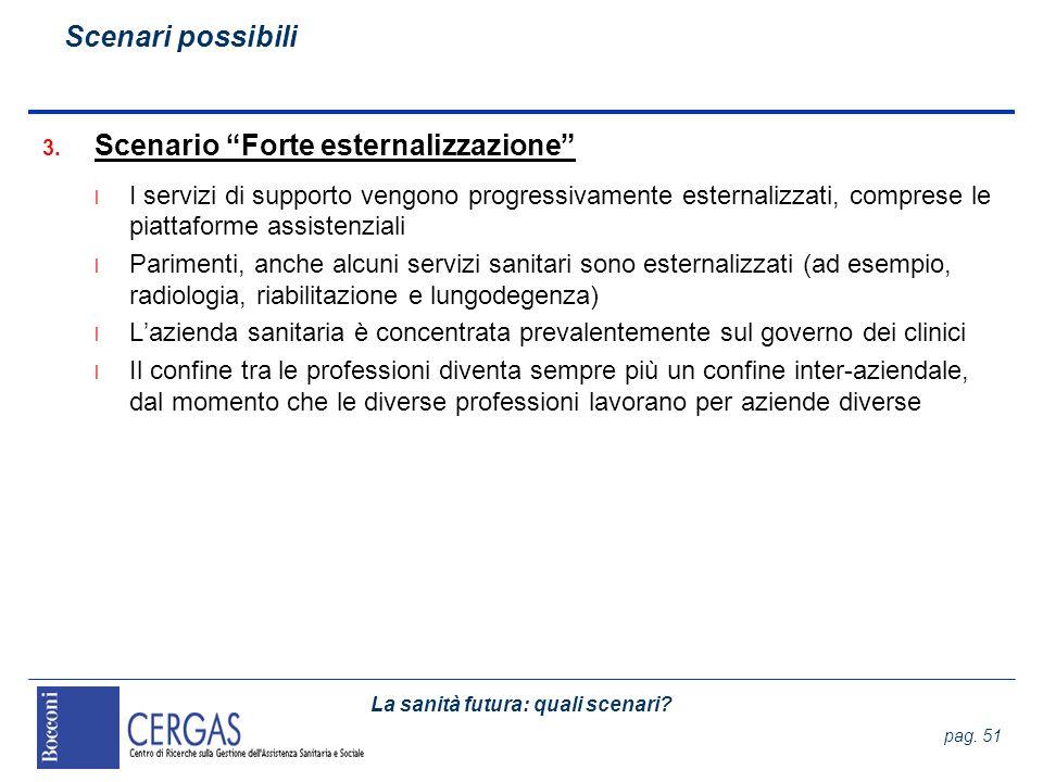 La sanità futura: quali scenari? pag. 51 3. Scenario Forte esternalizzazione l I servizi di supporto vengono progressivamente esternalizzati, comprese
