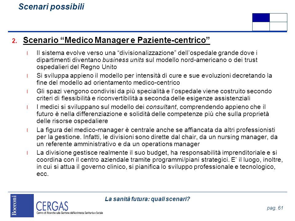 La sanità futura: quali scenari? pag. 61 2. Scenario Medico Manager e Paziente-centrico l Il sistema evolve verso una divisionalizzazione dellospedale