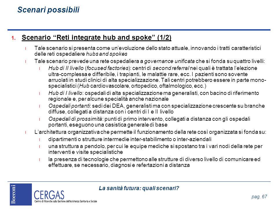 La sanità futura: quali scenari? pag. 67 1. Scenario Reti integrate hub and spoke (1/2) l Tale scenario si presenta come unevoluzione dello stato attu