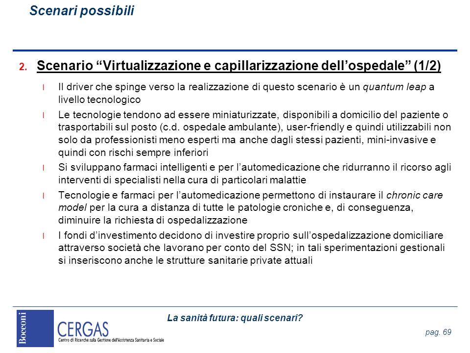 La sanità futura: quali scenari? pag. 69 2. Scenario Virtualizzazione e capillarizzazione dellospedale (1/2) l Il driver che spinge verso la realizzaz