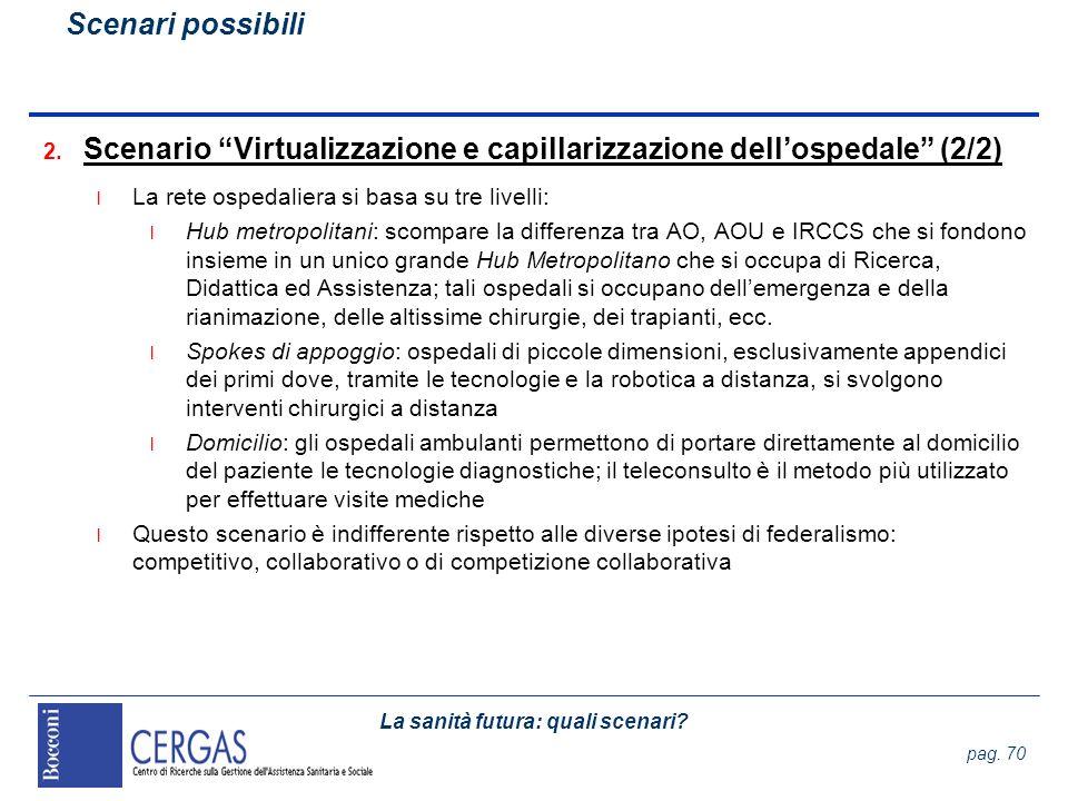 La sanità futura: quali scenari? pag. 70 2. Scenario Virtualizzazione e capillarizzazione dellospedale (2/2) l La rete ospedaliera si basa su tre live