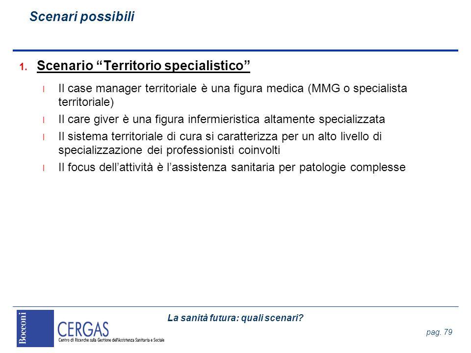 La sanità futura: quali scenari? pag. 79 1. Scenario Territorio specialistico l Il case manager territoriale è una figura medica (MMG o specialista te