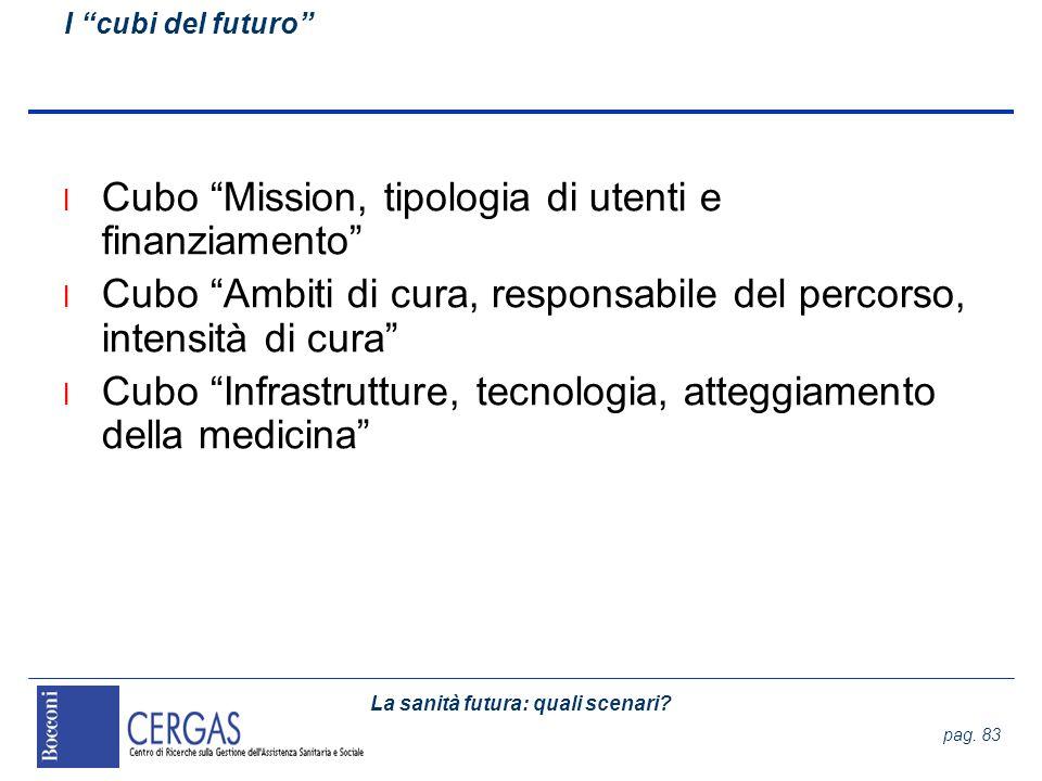 La sanità futura: quali scenari? pag. 83 l Cubo Mission, tipologia di utenti e finanziamento l Cubo Ambiti di cura, responsabile del percorso, intensi