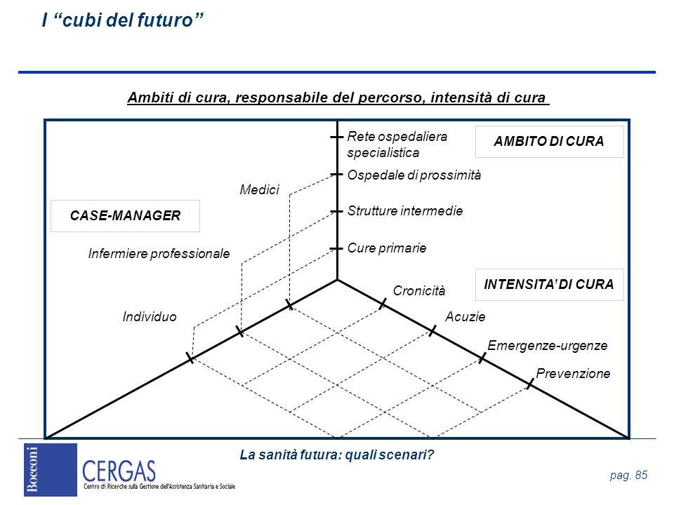 La sanità futura: quali scenari? pag. 85 I cubi del futuro Ambiti di cura, responsabile del percorso, intensità di cura Rete ospedaliera specialistica