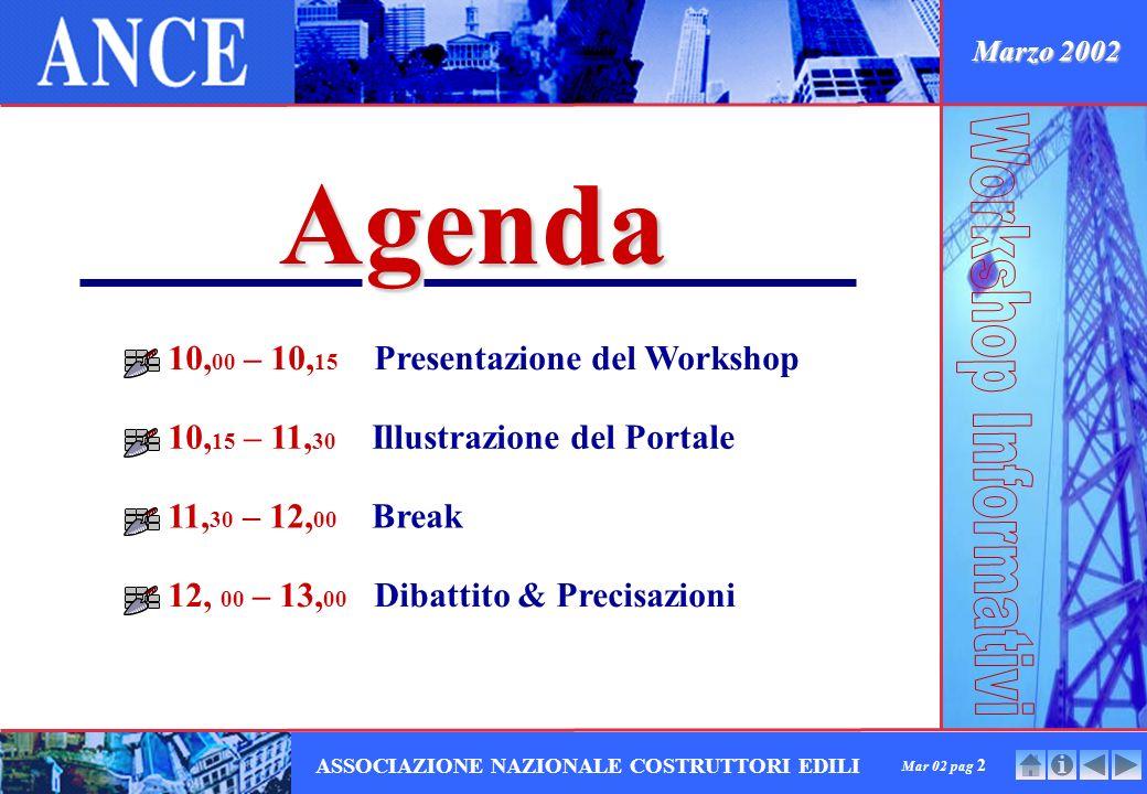 Mar 02 pag 2 ASSOCIAZIONE NAZIONALE COSTRUTTORI EDILI Agenda 10, 00 – 10, 15 Presentazione del Workshop 10, 15 – 11, 30 Illustrazione del Portale 11, 30 – 12, 00 Break 12, 00 – 13, 00 Dibattito & Precisazioni Marzo 2002