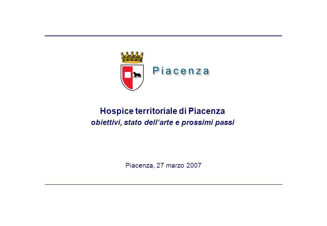 Piacenza, 27 marzo 2007 Hospice territoriale di Piacenza obiettivi, stato dellarte e prossimi passi