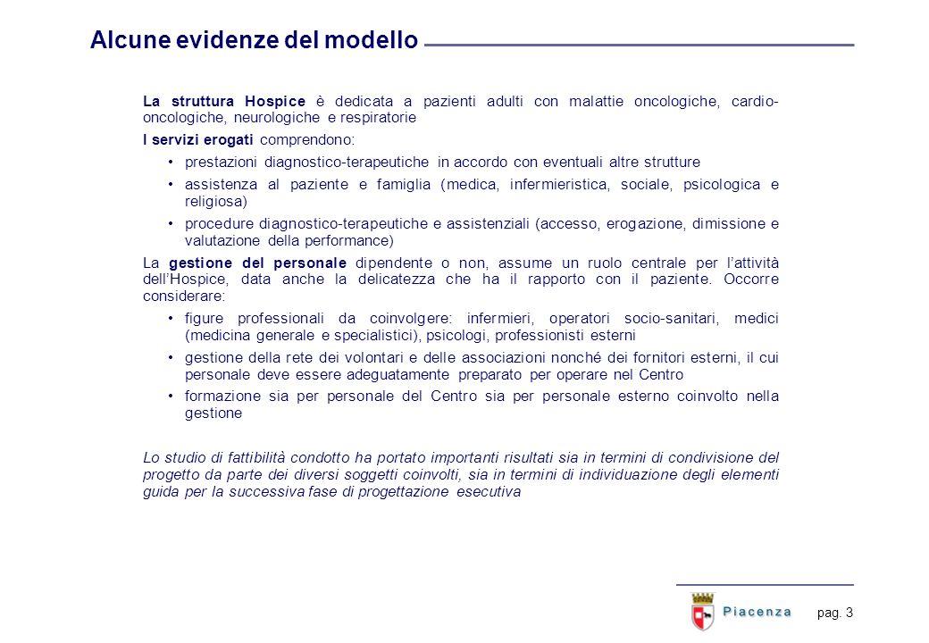 pag. 3 Alcune evidenze del modello La struttura Hospice è dedicata a pazienti adulti con malattie oncologiche, cardio- oncologiche, neurologiche e res