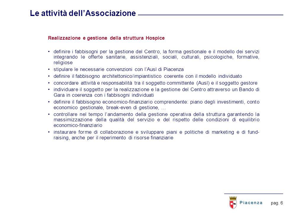 pag. 6 Le attività dellAssociazione Realizzazione e gestione della struttura Hospice definire i fabbisogni per la gestione del Centro, la forma gestio