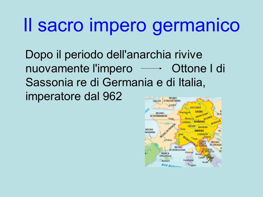 Il sacro impero germanico Dopo il periodo dell'anarchia rivive nuovamente l'impero Ottone I di Sassonia re di Germania e di Italia, imperatore dal 962
