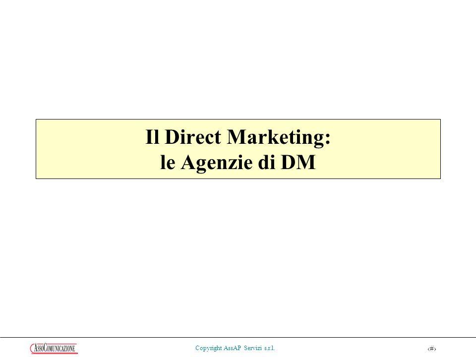 36 Copyright AssAP Servizi s.r.l. Il Direct Marketing: le Agenzie di DM