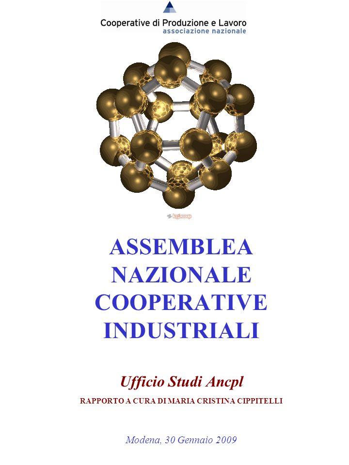 11 ASSEMBLEA NAZIONALE COOPERATIVE INDUSTRIALI Ufficio Studi Ancpl RAPPORTO A CURA DI MARIA CRISTINA CIPPITELLI Modena, 30 Gennaio 2009