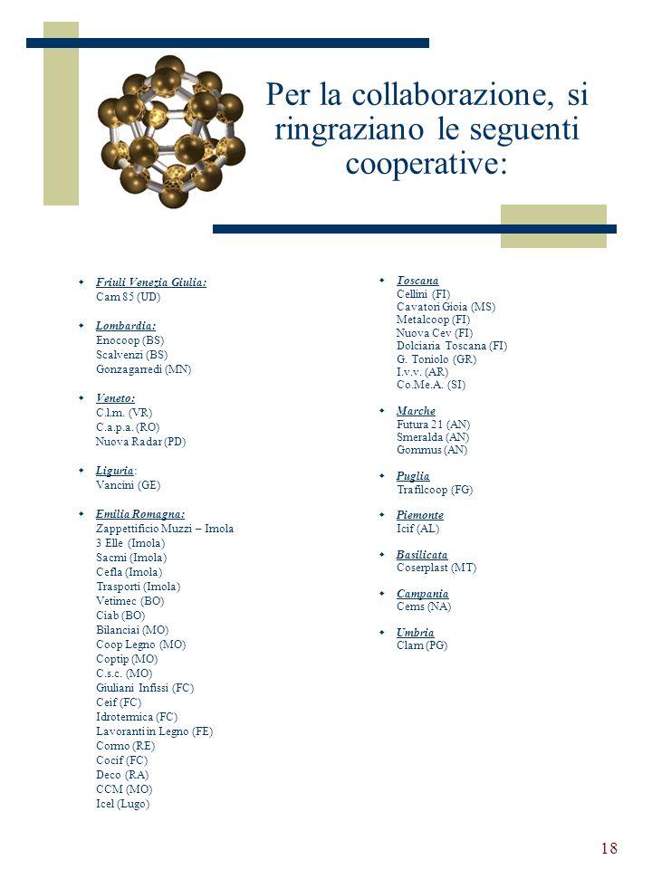 18 Per la collaborazione, si ringraziano le seguenti cooperative: Friuli Venezia Giulia: Cam 85 (UD) Lombardia: Enocoop (BS) Scalvenzi (BS) Gonzagarredi (MN) Veneto: C.l.m.
