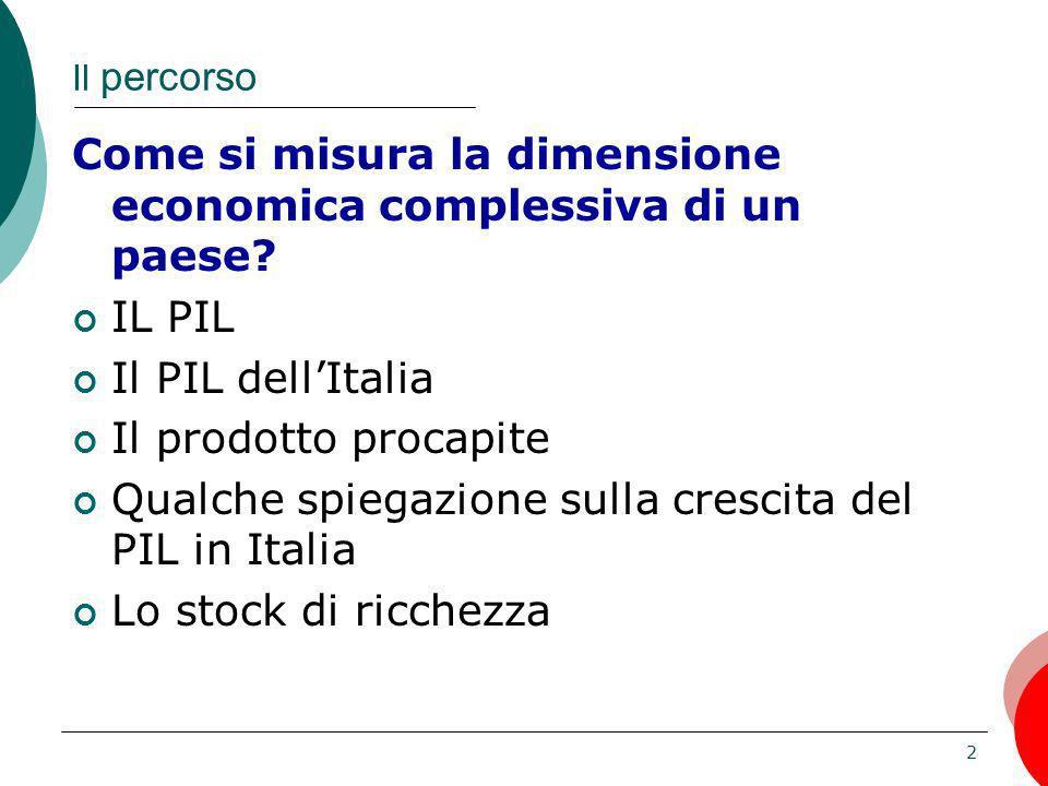 3 La struttura delleconomia italiana misurare la dimensione delleconomia IL PIL come si misura tre definizioni e tre metodi di stima un motivo di cautela elementi non monetari del benessere una digressione: PPA come effettuare confronti internazionali tenendo conto del tasso di cambio