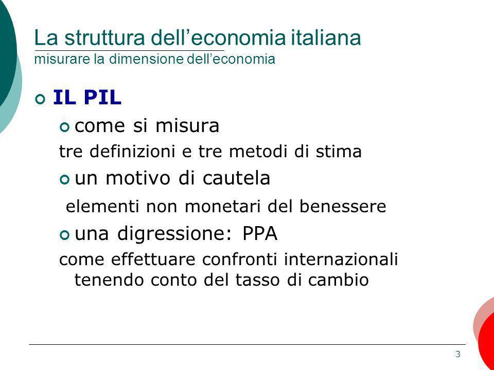3 La struttura delleconomia italiana misurare la dimensione delleconomia IL PIL come si misura tre definizioni e tre metodi di stima un motivo di caut