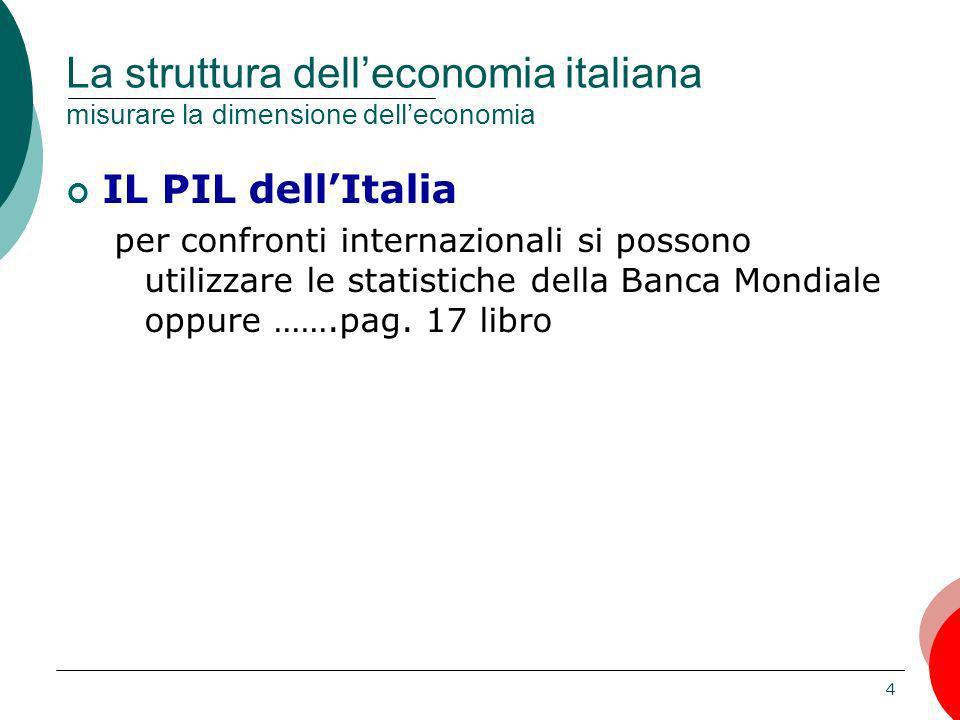 4 La struttura delleconomia italiana misurare la dimensione delleconomia IL PIL dellItalia per confronti internazionali si possono utilizzare le stati
