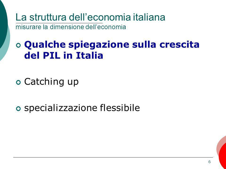 6 La struttura delleconomia italiana misurare la dimensione delleconomia Qualche spiegazione sulla crescita del PIL in Italia Catching up specializzaz
