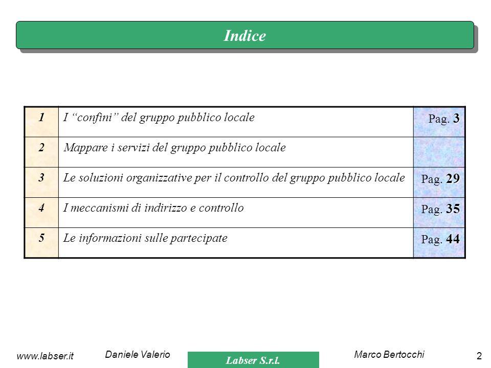 Labser S.r.l. Marco BertocchiDaniele Valerio 2www.labser.it Indice 1I confini del gruppo pubblico locale 3 Pag. 3 2Mappare i servizi del gruppo pubbli