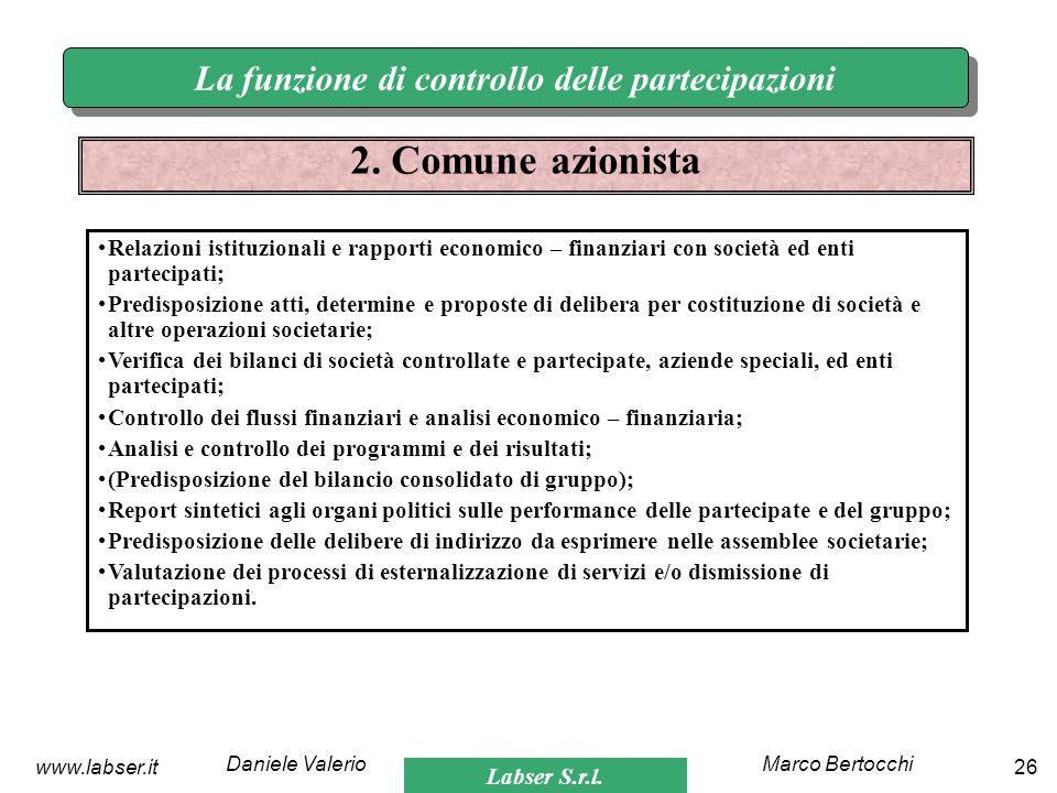 Labser S.r.l. Marco BertocchiDaniele Valerio 26www.labser.it La funzione di controllo delle partecipazioni 2. Comune azionista Relazioni istituzionali