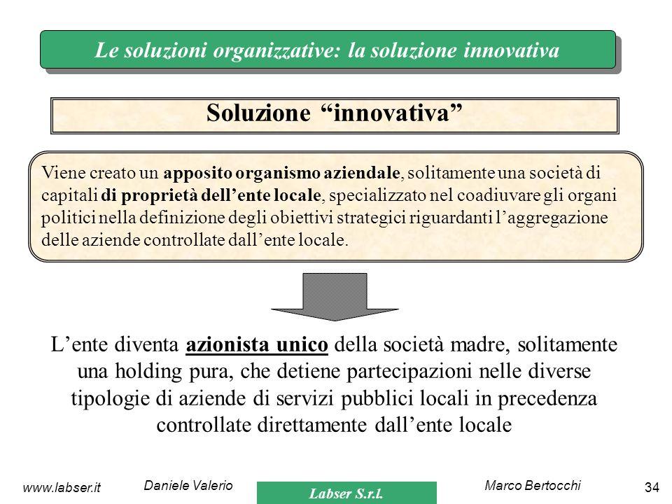 Labser S.r.l. Marco BertocchiDaniele Valerio 34www.labser.it Le soluzioni organizzative: la soluzione innovativa Lente diventa azionista unico della s