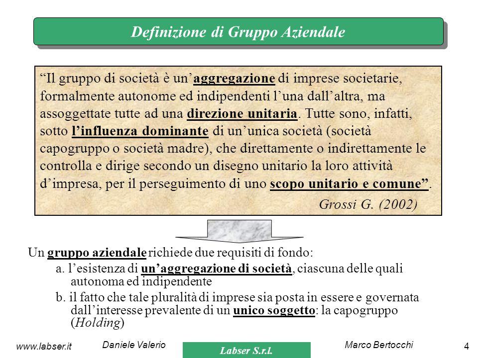Labser S.r.l. Marco BertocchiDaniele Valerio 4www.labser.it Definizione di Gruppo Aziendale Un gruppo aziendale richiede due requisiti di fondo: a. le