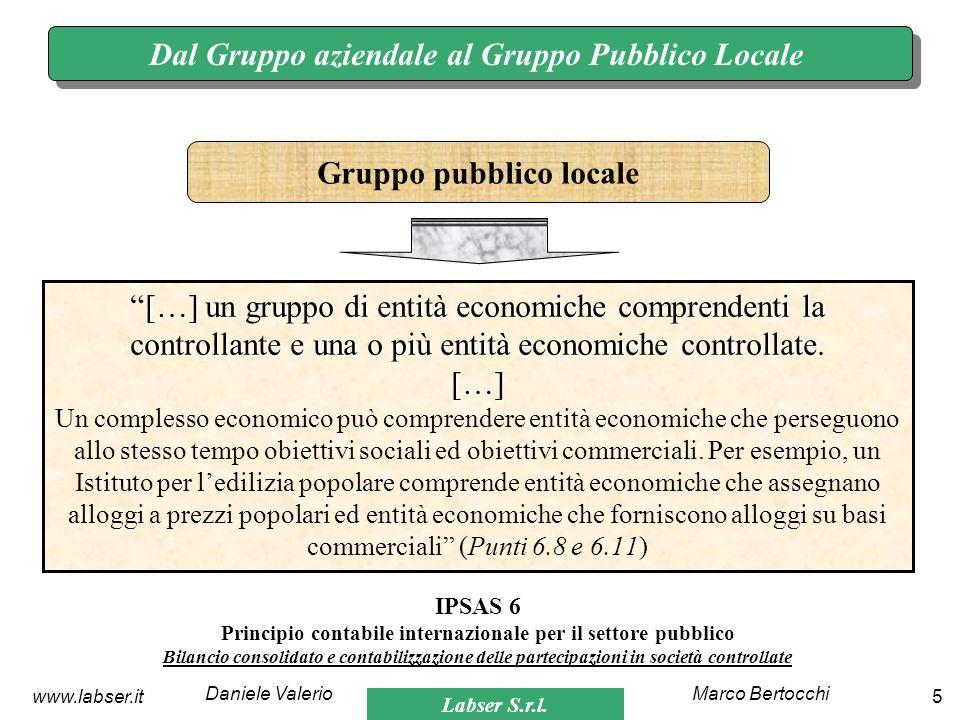 Labser S.r.l. Marco BertocchiDaniele Valerio 5www.labser.it Dal Gruppo aziendale al Gruppo Pubblico Locale […] un gruppo di entità economiche comprend