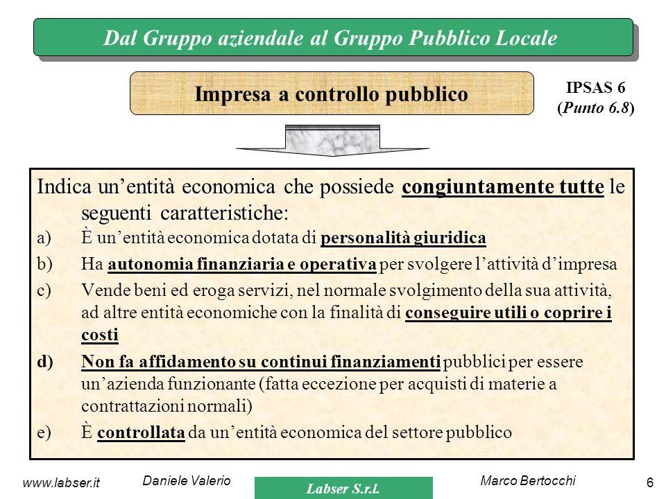 Labser S.r.l. Marco BertocchiDaniele Valerio 6www.labser.it Dal Gruppo aziendale al Gruppo Pubblico Locale Indica unentità economica che possiede cong
