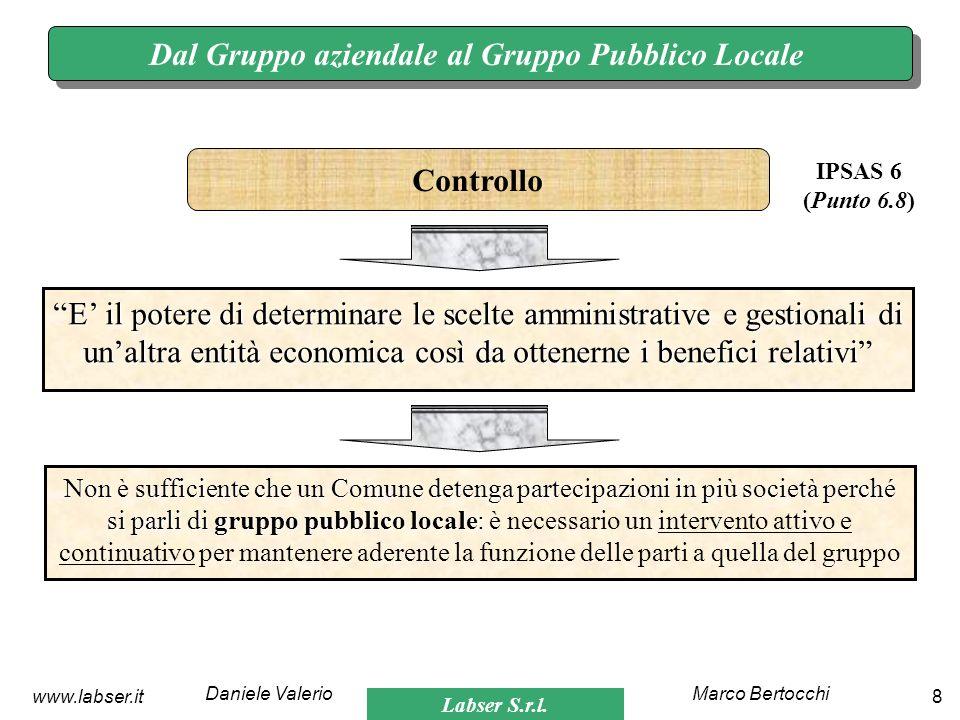 Labser S.r.l. Marco BertocchiDaniele Valerio 8www.labser.it Dal Gruppo aziendale al Gruppo Pubblico Locale E il potere di determinare le scelte ammini