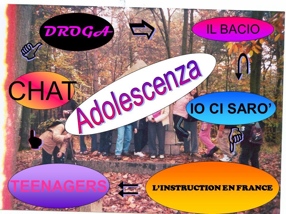 IL BACIO IO CI SARO LINSTRUCTION EN FRANCE TEENAGERS CHAT DROGA